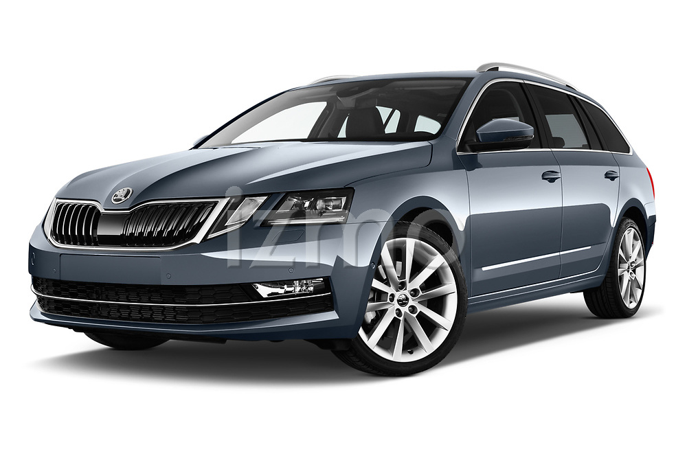 Stock pictures of low aggressive front three quarter view of 2017 Skoda Octavia Style 5 Door Wagon Low Aggressive
