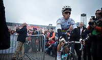 World Champion (and 1 of the race favourites) Michal Kwiatkowski (POL/Ettix-Quickstep) before the start<br /> <br /> 101th Liège-Bastogne-Liège 2015