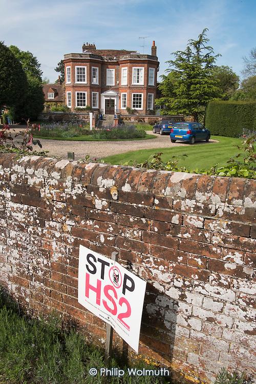 Stop HS2 sign outside a large detached house, Little Missenden, Buckinghamshire.