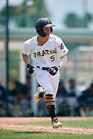 GCL Pirates Sammy Siani (5) runs to first base during a Gulf Coast League game against the GCL Braves on July 30, 2019 at Pirate City in Bradenton, Florida.  GCL Braves defeated the GCL Pirates 10-4.  (Mike Janes/Four Seam Images)