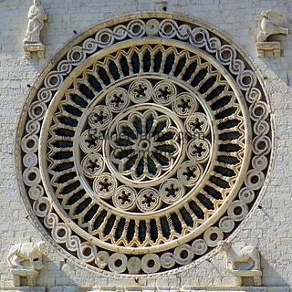 ITA, Italien, Umbrien, Assisi: Basilika San Francesco - Fensterrose (Rosette)   ITA, Italy, Umbria, Assisi: Basilica San Francesco - rosette (rose window)