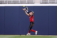 GREENSBORO, NC - MARCH 11: Kara Apato #16 of Northern Illinois University makes a catch in the outfield during a game between Northern Illinois and UNC Greensboro at UNCG Softball Stadium on March 11, 2020 in Greensboro, North Carolina.