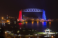 Duluth's Aerial Lift Bridge was decked out in red, white, and blue for Duluth's Independence Day celebrations. The Aerial Lift Bridge is one of the most-recognized iconic landmarks of Duluth. In a mere 55 seconds, the bridge rises to 138 feet, making it the quickest and biggest lift bridge in the world.