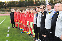 20200304  Parchal , Portugal : Belgian players pictured during the national anthem of female football game between the national teams of New Zealand , known as the Football Ferns and Belgium called the Red Flames on the first matchday of the Algarve Cup 2020 , a prestigious friendly womensoccer tournament in Portugal , on wednesday 4 th March 2020 in Parchal , Portugal . PHOTO SPORTPIX.BE | DAVID CATRY