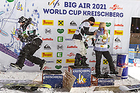 9th January 2021; Kreischberg, Murau, Austria. FIS World Cup Womens Snowboarding Big Air; 2nd placed Kokomo Murase of Japan winner and Zoi Sadowski Synnott of New Zealand with  3rd placed Anna Gasser of Austria during the winners ceremony