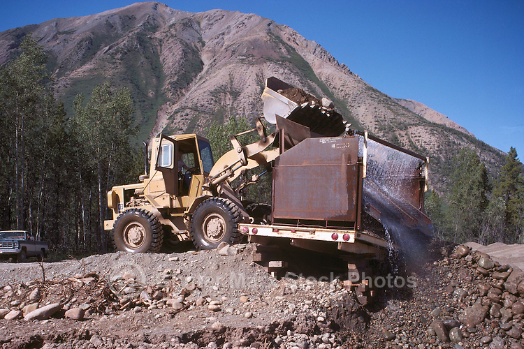 Gold Mining with Front End Loader and Sluice Box, near Watson Lake, Yukon Territory, Canada