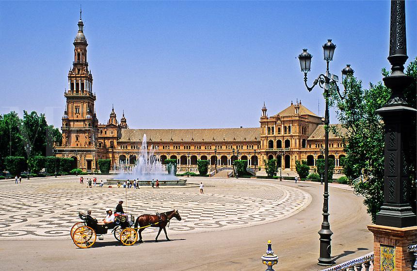 Spain. Seville, Andalucia/Andalusia.  Plaza de Espana.