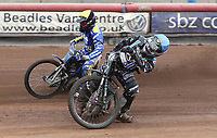 Heat 9: Alfie Bowtell (blue) and Charley Powell (yellow)<br /> <br /> Photographer Rob Newell/CameraSport<br /> <br /> National League Speedway - Lakeside Hammers v Eastbourne Eagles - Lee Richardson Memorial Trophy, First Leg - Friday 14th April 2017 - The Arena Essex Raceway - Thurrock, Essex<br /> © CameraSport - 43 Linden Ave. Countesthorpe. Leicester. England. LE8 5PG - Tel: +44 (0) 116 277 4147 - admin@camerasport.com - www.camerasport.com