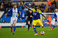 Saturday 25 January 2014<br /> Pictured: Roland Lamah  crosses then ball in for the swans<br /> Re: Birmingham City v Swansea City FA Cup fourth round match at St. Andrew's Birimingham