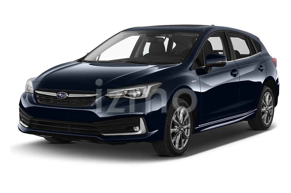 2021 Subaru Impreza Premium 5 Door Hatchback Angular Front automotive stock photos of front three quarter view