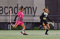 Ylenia Carabott (7 Charleroi) pictured shooting towards goal in front of Aalst's Tiana Andries during a female soccer game between Sporting Charleroi and Eendracht Aalst on the 8th  matchday of the 2020 - 2021 season of Belgian Scooore Womens Super League , friday 20 th of November 2020  in Marcinelle , Belgium . PHOTO SPORTPIX.BE | SPP | DAVID CATRY