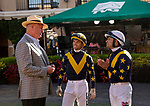 SEPTEMBER 04 2021:   Richard Mandella with Umberto Rispoli and Joe Bravo at the Del Mar Fairgrounds in Del Mar, California on September 04, 2021. Evers/Eclipse Sportswire/CSM