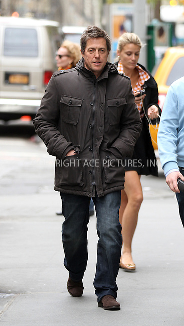 WWW.ACEPIXS.COM....April 18 2013, New York City....Actor Hugh Grant was on the set of the Untitled Marc Lawrence movie project on April 18 2013 in New York City......By Line: Zelig Shaul/ACE Pictures......ACE Pictures, Inc...tel: 646 769 0430..Email: info@acepixs.com..www.acepixs.com