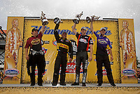 May 1, 2011; Baytown, TX, USA: NHRA pro winners (L-R) Del Worsham , Jeff Arend , Andrew Hines and Vincent Nobile during the Spring Nationals at Royal Purple Raceway. Mandatory Credit: Mark J. Rebilas-