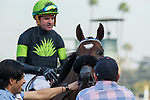 ARCADIA, CA  DECEMBER 26: #5 Bowies Hero, ridden by Kent Desormeaux, return to the connections after winning the Mathis Brothers Mile (Grade ll) on December 26, 2017 at Santa Anita Park in Arcadia, CA.(Photo by Casey Phillips/ Eclipse Sportswire/ Getty Images)