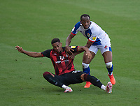 Blackburn Rovers' Ryan Nyambe (right)  battles with Bournemouth's Arnaut Danjuma (left) <br /> <br /> Photographer David Horton/CameraSport <br /> <br /> The EFL Sky Bet Championship - Bournemouth v Blackburn Rovers - Saturday September 12th 2020 - Vitality Stadium - Bournemouth<br /> <br /> World Copyright © 2020 CameraSport. All rights reserved. 43 Linden Ave. Countesthorpe. Leicester. England. LE8 5PG - Tel: +44 (0) 116 277 4147 - admin@camerasport.com - www.camerasport.com