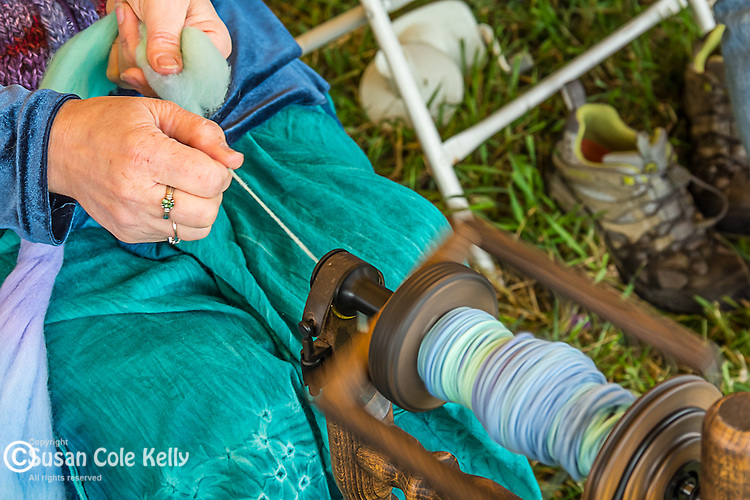 A spinner at the Common Ground Fair in Unity, Maine, USA