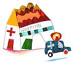 Illustration of hospital and ambulance over white background