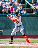 3 September 2018: Tri-City ValleyCats outfielder Carlos Machado in action against the Vermont Lake Monsters at Centennial Field in Burlington, Vermont. The Lake Monsters defeated the ValleyCats 9-6 in the last game of the 2018 NY Penn League regular season. Mandatory Credit: Ed Wolfstein Photo *** RAW (NEF) Image File Available ***