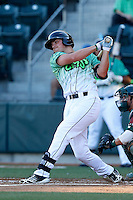 Hunter Renfroe #3 of the Eugene Emeralds bats against the Boise Hawks at PK Park on July 25, 2013 in Eugene, Oregon. Eugene defeated Boise, 5-4. (Larry Goren/Four Seam Images)