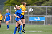 Kaley Ward of Capital competes for the ball with Hannah Mackay-Wright of Southern during the Handa Women's Premiership - Capital Football v Southern United at Petone Memorial Park, Wellington on Saturday 7 November 2020.<br /> Copyright photo: Masanori Udagawa /  www.photosport.nz