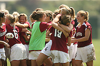9 September 2007: Shari Summers kicks the game-winning penalty kick during Stanford's 2-1 overtime win over #2 Notre Dame at Buck Shaw Stadium in Santa Clara, CA. Kate Mannino, Mimi Yuhas, Katie Riley, Allison Falk, Kelley O'Hara, and Rachel Buehler are pictured.