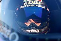 Nov 10, 2013; Pomona, CA, USA; NHRA top fuel dragster driver Brittany Force during the Auto Club Finals at Auto Club Raceway at Pomona. Mandatory Credit: Mark J. Rebilas-