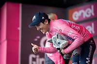 Maglia Rosa / overall leader Richard Carapaz (ECU/Movistar) on the podium<br /> <br /> Stage 17: Commezzadura (Val di Sole) to Anterselva/Antholz (181km)<br /> 102nd Giro d'Italia 2019<br /> <br /> ©kramon