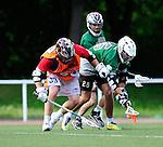 BERLIN, GERMANY - JUNE 21: Round Robin match of BLN Deluxe (orange) vs German Oaks (green) during the Berlin Open Lacrosse Tournament 2013 at Stadion Lichterfelde on June 21, 2013 in Berlin, Germany. Final score 9-2. (Photo by Dirk Markgraf/www.265-images.com)