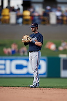 Atlanta Braves second baseman Daniel Lockhart (98) during a Grapefruit League Spring Training game against the Detroit Tigers on March 2, 2019 at Publix Field at Joker Marchant Stadium in Lakeland, Florida.  Tigers defeated the Braves 7-4.  (Mike Janes/Four Seam Images)