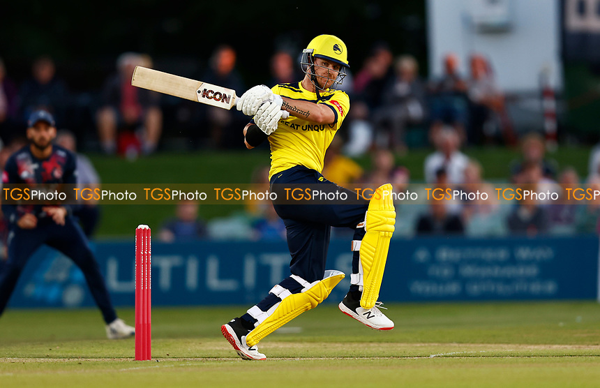 D'Arcy Short hits out for Hampshire during Kent Spitfires vs Hampshire Hawks, Vitality Blast T20 Cricket at The Spitfire Ground on 9th June 2021