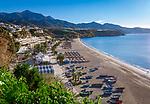 Spanien, Andalusien, Provinz Málaga, Costa del Sol, Nerja: Strand, Playa de Burriana   Spain, Andalusia, Costa del Sol, Nerja: beach, Playa de Burriana