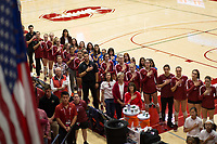 STANFORD, CA - NOVEMBER 17: Stanford, CA - November 17, 2019: Warm-ups at Maples Pavilion. #4 Stanford Cardinal defeated UCLA in straight sets in a match honoring neurodiversity. during a game between UCLA and Stanford Volleyball W at Maples Pavilion on November 17, 2019 in Stanford, California.