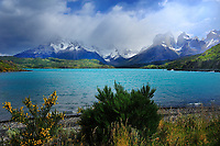 CHILE - NP Torres del Paine<br /> Dense cloud cover over Lago Pehoe and the Torres del Paine Massif