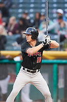 Jordan Patterson (10) of the Albuquerque Isotopes bats against the Salt Lake Bees at Smith's Ballpark on April 5, 2018 in Salt Lake City, Utah. Salt Lake defeated Albuquerque 9-3. (Stephen Smith/Four Seam Images)