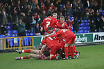 Stockport County 2 Rushden & Diamonds 2, 22/01/2006. Edgeley Park, League Two. Stockport County versus Rushden & Diamonds, Coca-Cola Football League Two at Edgeley Park, Stockport. With the teams occupying the bottom two places in the Football league, points were vital in home club's Jim Gannon's first game in charge as manager. The match ended 2-2. Picture shows Rushden players celebrating the equalising goal to make it 1-1.<br />  Photo by Colin McPherson.