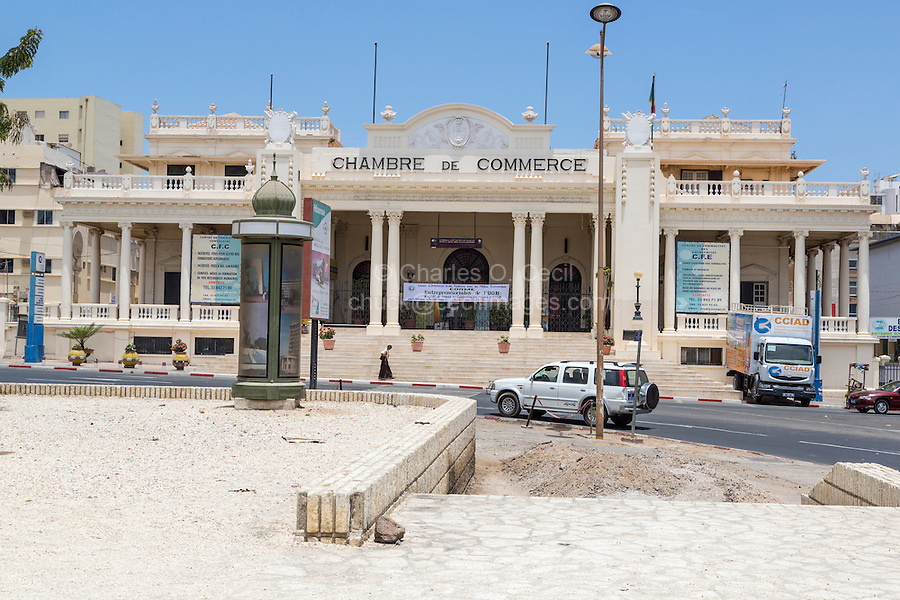 Dakar, Senegal.  Chamber of Commerce, in a Beaux Arts Architectural Style from the French Colonial Period.