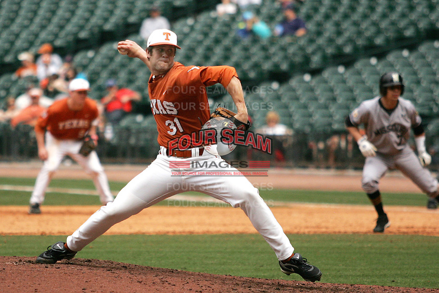 NCAA Baseball featuring the Texas Longhorns against the Missouri Tigers. Ruffin, Chance 9642  at the 2010 Astros College Classic in Houston's Minute Maid Park on Sunday, March 7th, 2010. Photo by Andrew Woolley