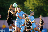 Brittany Bock (21) of the Western New York Flash and Allie Long (10) of Sky Blue FC battle for a header. The Western New York Flash defeated Sky Blue FC 4-1 during a Women's Professional Soccer (WPS) match at Yurcak Field in Piscataway, NJ, on July 30, 2011.