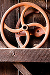 Still life of old wheels in blacksmith shop