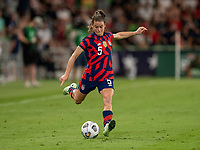 AUSTIN, TX - JUNE 16: Kelley O'Hara #5 of the USWNT crosses the ball during a game between Nigeria and USWNT at Q2 Stadium on June 16, 2021 in Austin, Texas.