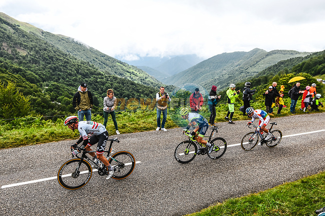 Austrian Champion Patrick Konrad (AUT) Bora-Hansgrohe, Jan Bakelants (BEL) Intermarché-Wanty-Gobert Matériaux and Jeremy Cabot (FRA) TotalEnergies in the breakaway during Stage 16 of the 2021 Tour de France, running 169km from Pas de la Case to Saint-Gaudens, France. 13th July 2021.  <br /> Picture: A.S.O./Charly Lopez | Cyclefile<br /> <br /> All photos usage must carry mandatory copyright credit (© Cyclefile | A.S.O./Charly Lopez)