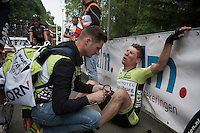 Bob Schoonbroodt (NLD/Parkhotel Valkenburg CT) was near collapsing after the finish<br /> <br /> stage 4: Hotel Verviers - La Gileppe (187km)<br /> 29th Ster ZLM Tour 2015