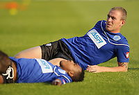 Richard Dunne of QPR during pre-game warm-ups