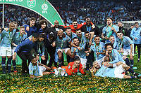 The Manchester City players with the trophy at the end of the Carabao Cup Final match between Chelsea and Manchester City at Stamford Bridge on February 24th 2019 in London, England. (Photo by Paul Chesterton/phcimages.com)<br /> Foto PHC Images / Insidefoto <br /> ITALY ONLY