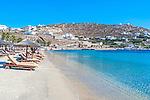 Paradise Beach on the island of Mykonos in Greece.