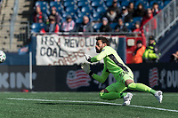 FOXBOROUGH, MA - MARCH 7: Kenneth Kronholm #18 of Chicago Fire makes a save during a game between Chicago Fire and New England Revolution at Gillette Stadium on March 7, 2020 in Foxborough, Massachusetts.