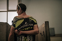 Mathew Hayman (AUS/Michelton-Scott) up for a post-race (almost) ritual 'cleansing' in the famous Roubaix showers of where  he has his own 'block' as a former race winner.<br /> <br /> 116th Paris-Roubaix (1.UWT)<br /> 1 Day Race. Compiègne - Roubaix (257km)