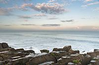 Sunrise over limestone formations, Pancake Rocks, in Punakaiki, Paparoa National Park, Buller Region, West Coast, South Island, New Zealand, NZ