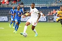 KANSASCITY, KS - JULY 11: Cyle Larin #17 of Canada with the ball during a game between Canada and Martinique at Children's Mercy Park on July 11, 2021 in KansasCity, Kansas.